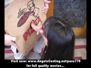 hawt milf does oral job for pizza lad and