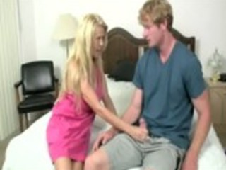 hawt blond mature stroking youthful chaps dick in
