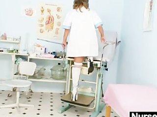 skinny d like to fuck senior nurse toys her pussy