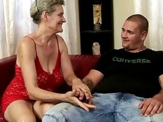 busty grandma riding youthful cock