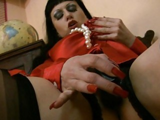 Satiny stocking wearing milf loves cumshots