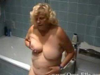 granny teasing in the baths