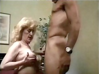 granny sexy screwed in bed, with red high heels