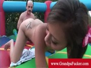 mia lina pussy eaten by a grand-dad