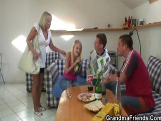 partying guys nail blond grandma