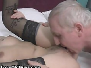 sexually excited grey old fellow loves licking a