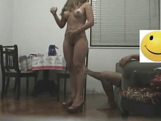 wife rides boy on chair