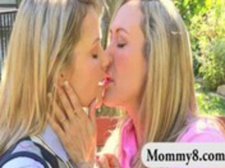 Hot mature mom and her daughter lesbian action