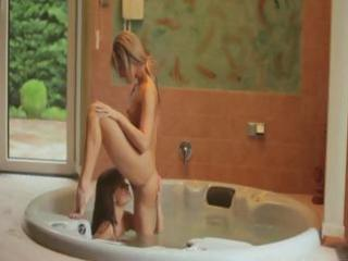 marvelous hotties in a tub have a vehement lesbo