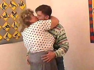 Old fat granny tricks younger guy into sex