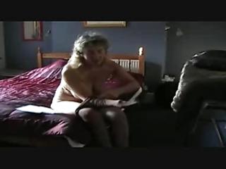 older puts pantyhose on