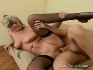 Old granny gets pussy fucked while her saggy tits