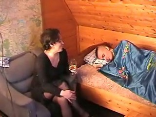 Drunk russian mother seduces the youth