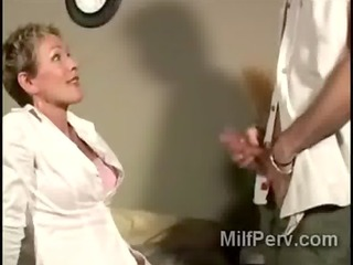 very lascivious older golden-haired bitch gobbles