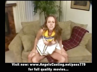 redhead cheerleader fucking and engulfing in