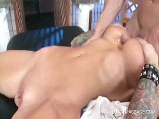 tattooed bitch giving tit and fellatio to her