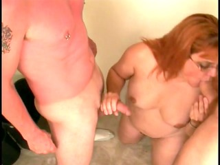 skanky aged broad sucks young fellas dong then