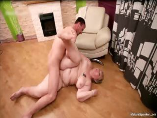 nasty overweight blond milf gets spanked