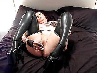 latex stockings and 6 inch heels