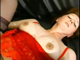 aged redhead takes anal and facial.