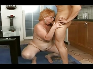 chubby granny gets a facial from a chap