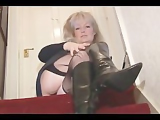 aged breasty golden-haired sweetheart in nylons