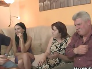 his gf is tempted by old mommy and screwed by old