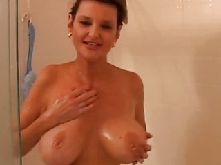 large milk sacks older amateur receives wet