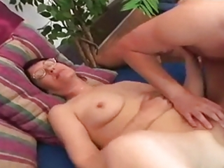 Fat young hairy granny in good action