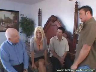 Hot blonde wife, with big boobs, gets fucked