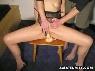 older redhead non-professional wife sucks and