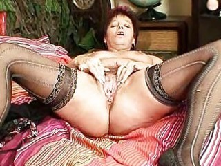 mature non-professional mommy squeezing her bawdy