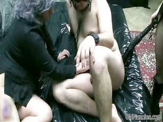 old woman goes avid jerking and sucking