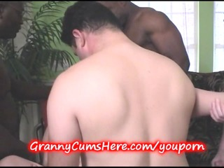 granny gangbanged and juvenile cutie sucks her