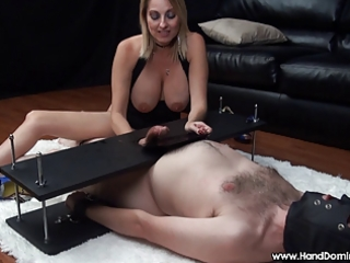 Mean dominant milf uses helpless slave during