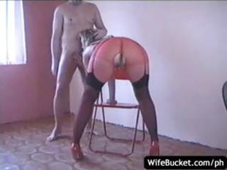 russian wife sucks his pounder and then bonks on