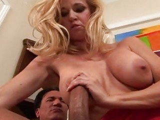 busty blonde milf in hot red costume receives