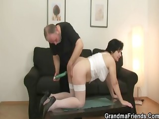 her old unshaved fur pie is toyed and drilled