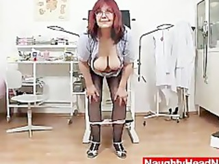 redhead giant boobies cougar spreads her haired
