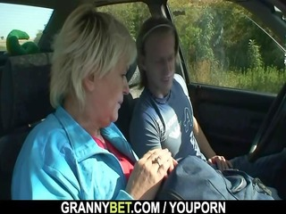 old wench receives nailed in the car by a stranger