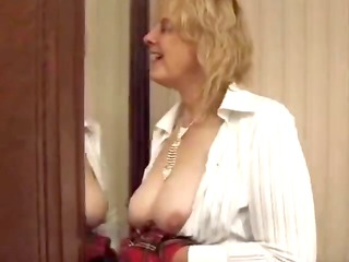french oldie stuffs her panties in her vagina and