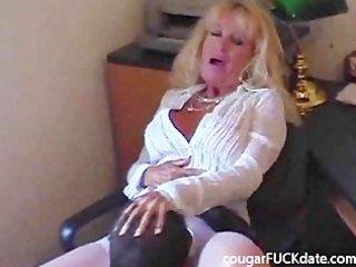 hot granny cougar in nylons fucks a juvenile stud