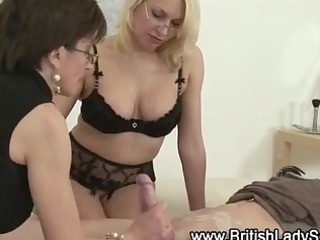 pair of mature ladies acquire jiggy on a chap