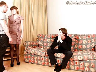 Cuckold watches his wife suck cock and get jizzed