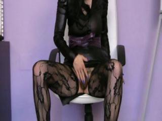 older slender skank in darksome nylons