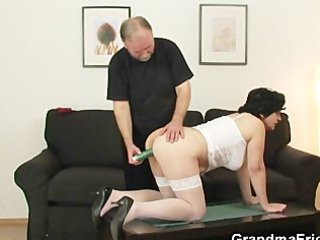 granny gets her unshaved aperture filled with two