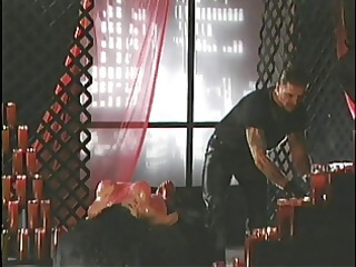 fetish wench gets overspread in sexy wax