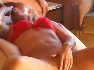 Amateur blonde milf masturbates &; gets