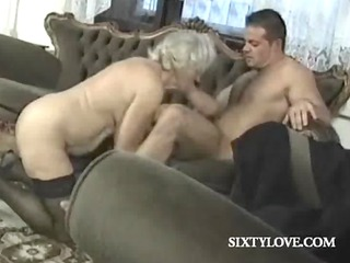 older blond bitch rides shlong in group sex
