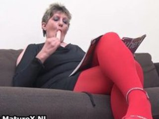 Horny mature woman in red stockings part6